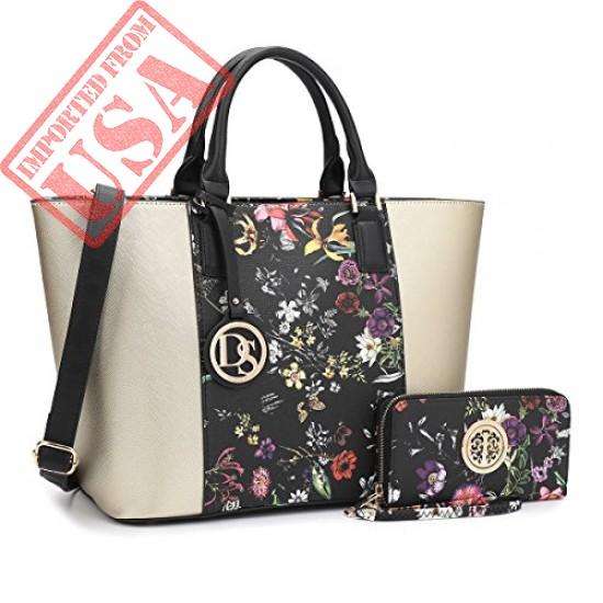Buy Dasein Women's Top Handle Structured Two Tone Tote Bag Satchel Handbag Shoulder Bag With Shoulder Strap Online in Pakistan